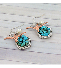 Coppertone Longhorn and Turquoise Stone Earrings #8930E-LONGHORN