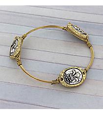Handcrafted Two-Tone Fleur De Lis Wire Bangle #8939B-FLEUR