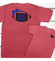 Football Bow Monogram Comfort Colors Youth Ring-Spun Cotton Tee #9018 *Choose Your Colors