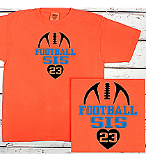 Football Heart Comfort Colors Youth Ring-Spun Cotton Tee #9018 *Personalize Your Text and Colors