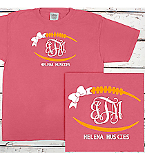 Football Outline with Bow Monogram Comfort Colors Youth Ring-Spun Cotton Tee #9018 *Personalize Your Text and Colors