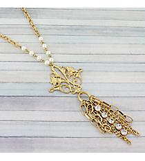 """25"""" Goldtone Filigree Fleur De Lis Necklace #9051N-IV-GD"""