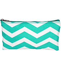 "Light Blue and White Chevron 10"" Pouch #909-165-LT/W"