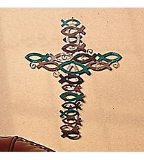 Metal Religious Fish Cross #91/6797