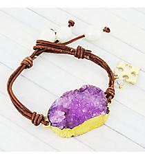 Amethyst Druzy Quartz Leather Toggle Bracelet #9206B-AM