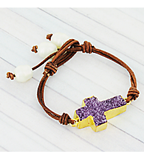 Amethyst Druzy Quartz Cross and Pearl Leather Cord Toggle Bracelet #9235B-AM