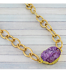 "15"" Amethyst Druzy Quartz Goldtone Necklace #9241N-AM"