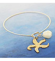 Goldtone Starfish and Pearl Silvertone Bangle #9259B-STAR