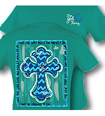 """May the Lord Bless You"" Chevron Cross Jade T-Shirt #9278 *Choose Your Size"