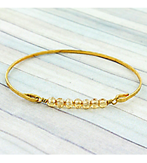 Champagne Beaded Goldtone Bangle #9280B-CH-GD