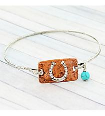 Silvertone and Coppertone Horseshoe Bangle Bracelet #9285B-HORSESHOE-SL
