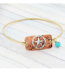 Goldtone and Coppertone Western Star Bangle Bracelet #9285B-STAR-GD