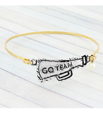"Silvertone ""Go Team"" Megaphone on Goldtone Bangle Bracelet #9287B-CHEER-SL"