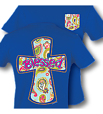 """Blessed"" Paisley Cross Royal Blue Frocket T-Shirt #9296 *Choose Your Size"