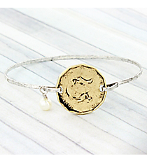 Two-Tone Antique Coin Charm Bangle #9297B-GD