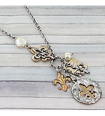 """17"""" Two-Tone Layered Fleur de Lis Cluster Pendant Necklace #9331N-FLEUR-SL"""