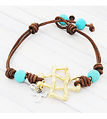 Goldtone Square Cross and Turquoise Bead Toggle Cord Bracelet #9349B-TQ