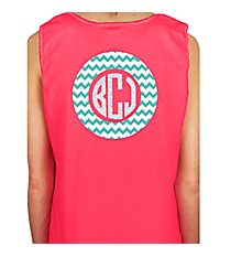 Monogram Circle Comfort Color Cotton Tank Top *Choose Your Colors