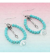 Silvertone Arrow and Crystal Turquoise Beaded Teardrop Earrings #9442E-ARROW-TQ