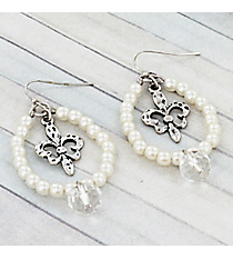 Silvertone Fleur de Lis and Crystal Ivory Beaded Teardrop Earrings #9442E-FLEUR-IV