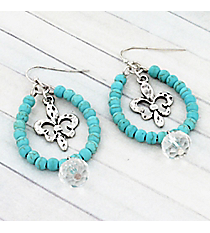 Silvertone Fleur de Lis and Crystal Turquoise Beaded Teardrop Earrings #9442E-FLEUR-TQ