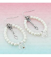 Silvertone Arrow and Crystal Ivory Beaded Teardrop Earrings #9442E-ARROW-IV
