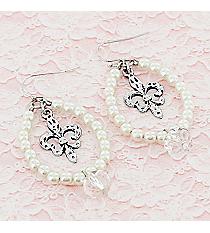 Silvertone Fleur de Lis and Crystal Ivory Beaded Teardrop Earrings #9442E-FLEUR-IV