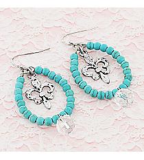 Silvertone Fleur de Lis and Crystal Turquoise Beaded Teardrop Earrings #9442E-FLEUR-TQ