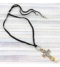 "Adjustable Two-Tone ""Hope Love"" Cross Pendant Leather Necklace #9444N-HOPE"