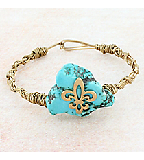 Turquoise Stone with Goldtone Fleur de Lis Twisted Wire Bangle #9454B-FLEUR