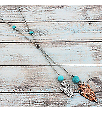 Two-Tone Arrowhead Lariat Necklace #9514N-ARROW