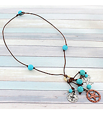 "19"" Two-Tone and Turquoise Bead Western Cluster Pendant Cord Necklace #9519N"