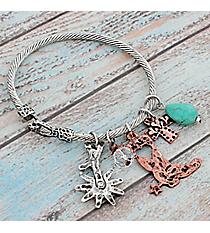 Two-Tone Western Cowgirl Charm Bangle Bracelet #9533B-BOOT