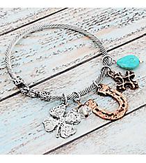Two-Tone Western Charm Bangle Bracelet #9533B-HORSESHOE