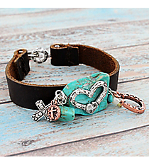 Silvertone Heart Accented Turquoise Stone Leather Charm Bracelet #9541B