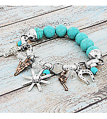 Two-Tone Western Charm Chain and Turquoise Bead Bracelet #9542B