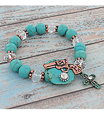Copper Pistol and Cross Accented Turquoise Bead Stretch Bracelet #9543B