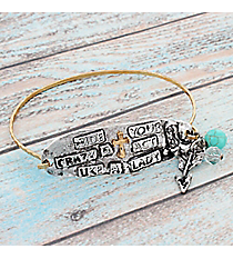 "Two-Tone ""Hide Your Crazy"" Western Charm Bracelet #9550B-CRAZY"
