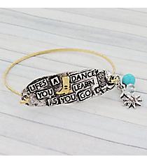 "Two-Tone ""Life's a Dance"" Western Charm Bracelet #9550B-BOOT"