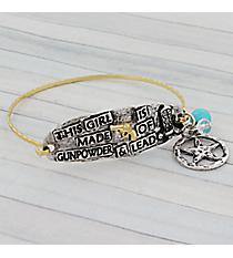 "Two-Tone ""Gunpowder & Lead"" Western Charm Bracelet #9550B-PISTOL"