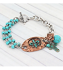 Two-Tone and Turquoise Fleur de Lis Charm Toggle Bracelet #9580B-FLEURhemed Pearl Toggle Bracelet #9258B