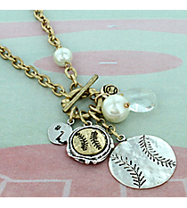 "29"" Two-Tone Softball Cluster Charm Toggle Necklace #8703N-SOFTBALL"