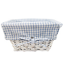 Small Wicker Basket with Blue Gingham Lining #9710233