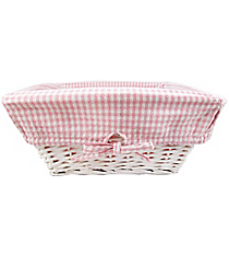 Large Wicker Basket with Pink Gingham Lining #9710234