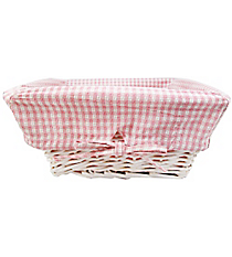 Medium Wicker Basket with Pink Gingham Lining #9710234
