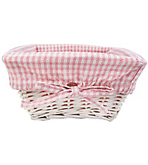 SALE! Small Wicker Basket with Pink Gingham Lining #9710234