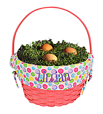 Pink Wicker Basket with Polka Dot Lining #9718952P