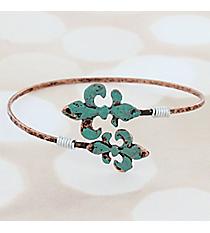 Coppertone and Patina Double Fleur de Lis Bangle #9731B-FDL-CP