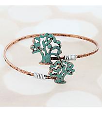 Coppertone and Patina Double Tree of Life Bangle #9731B-TREE-CP