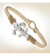 Wire-Wrapped Silvertone Fleur de Lis on Goldtone Bangle #9732B-FDL-GD